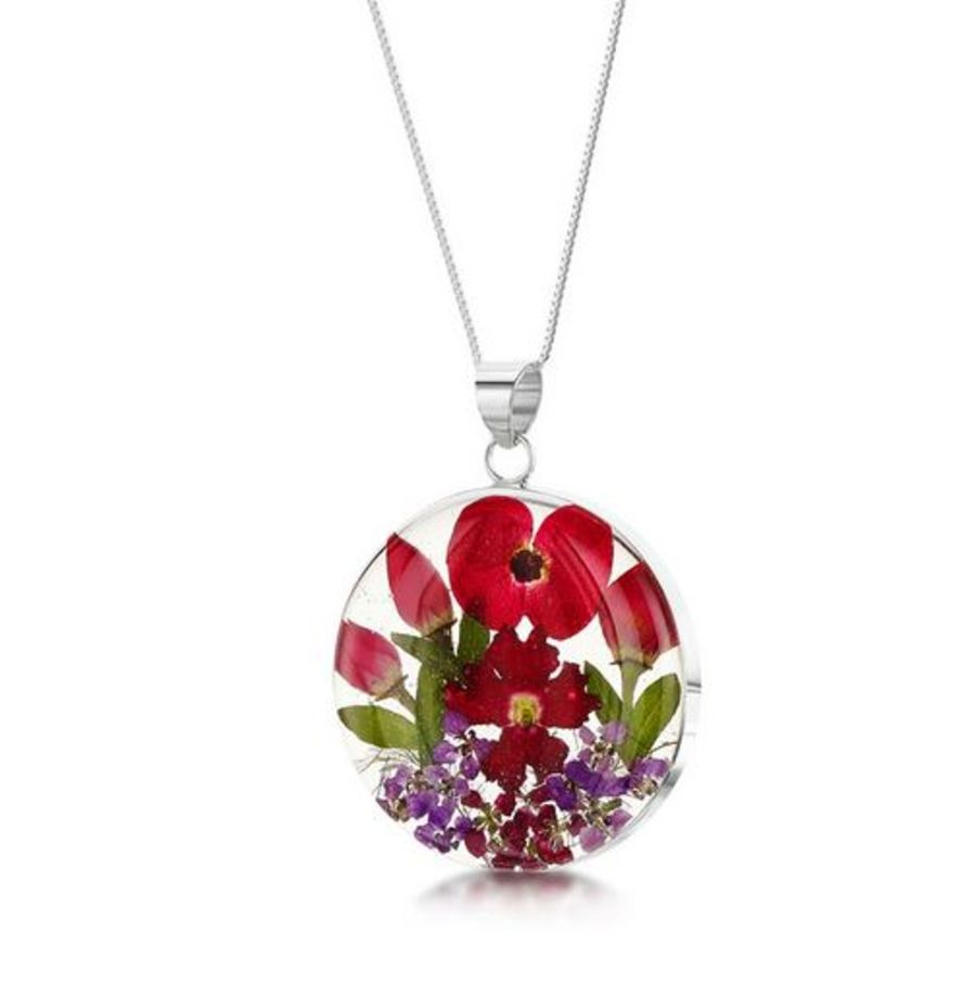 Silver Large Round Poppy & Rose Pendant
