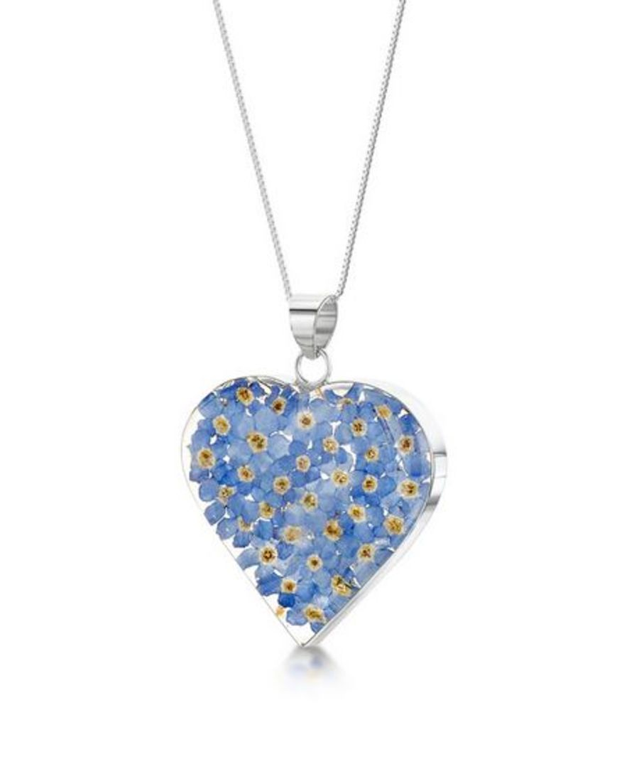 Silver Medium Forget-Me-Not Heart Pendant