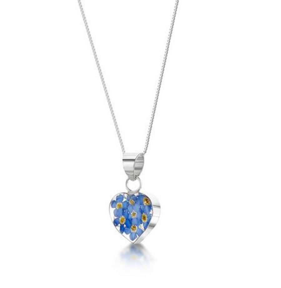 Silver Small Forget-Me-Not Heart Pendant