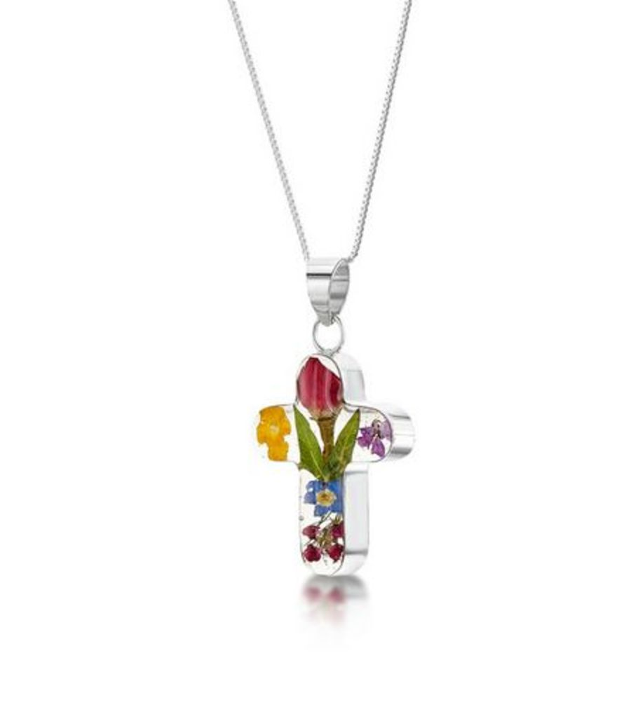 Silver Mixed Flowers & Rose Cross Pendant