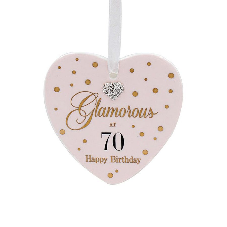 70th Birthday Mad Dots Heart Plaque