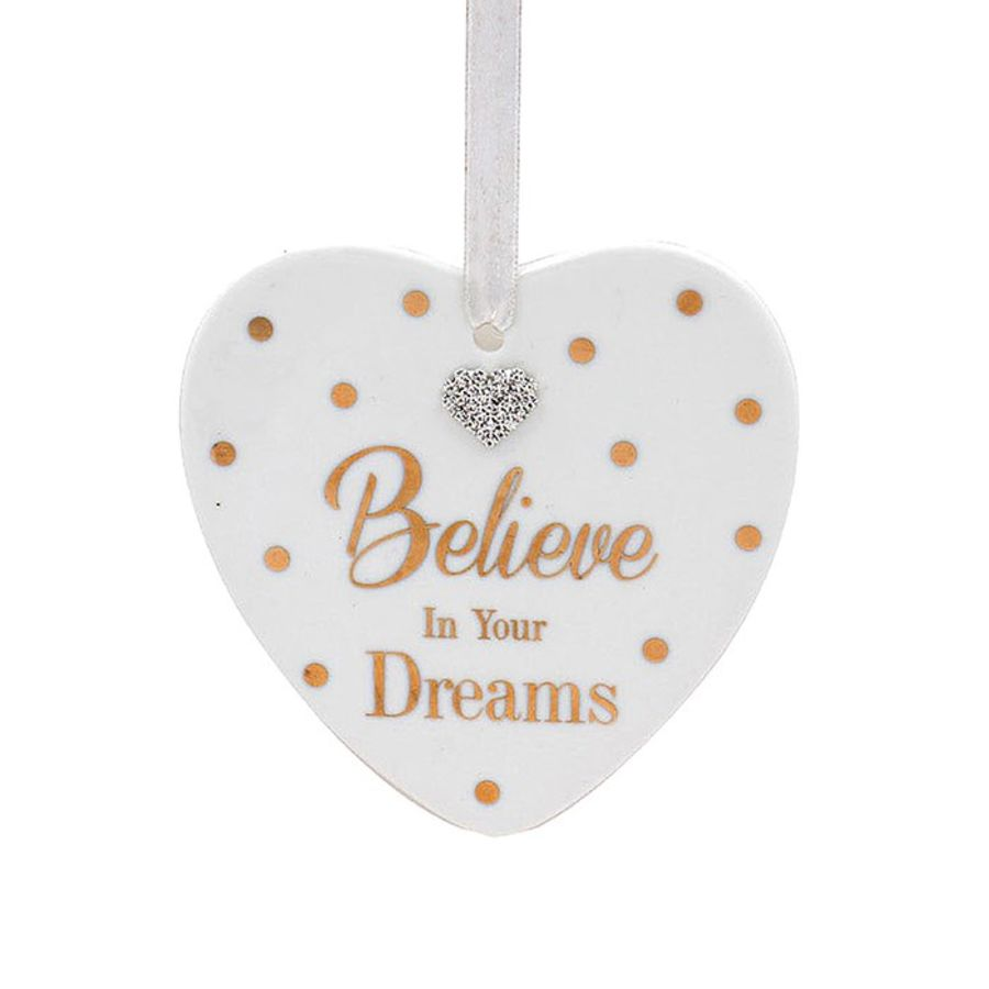 Believe In Your Dreams Mad Dots Heart Plaque