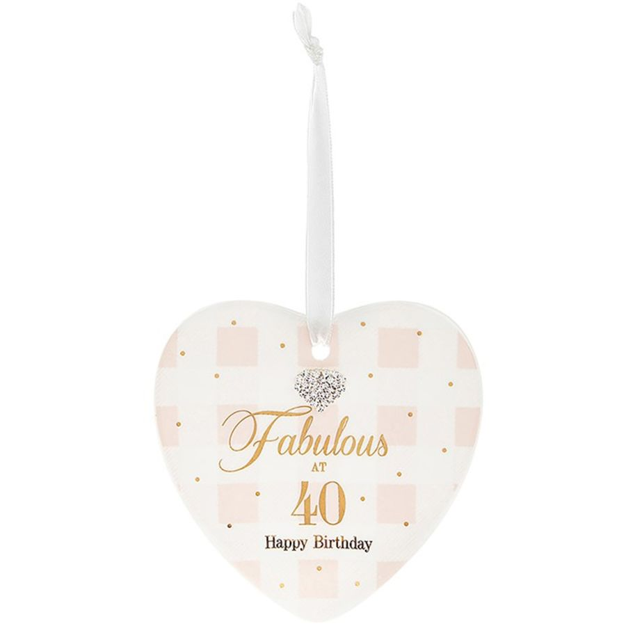 40th Birthday Mad Dots Heart Plaque