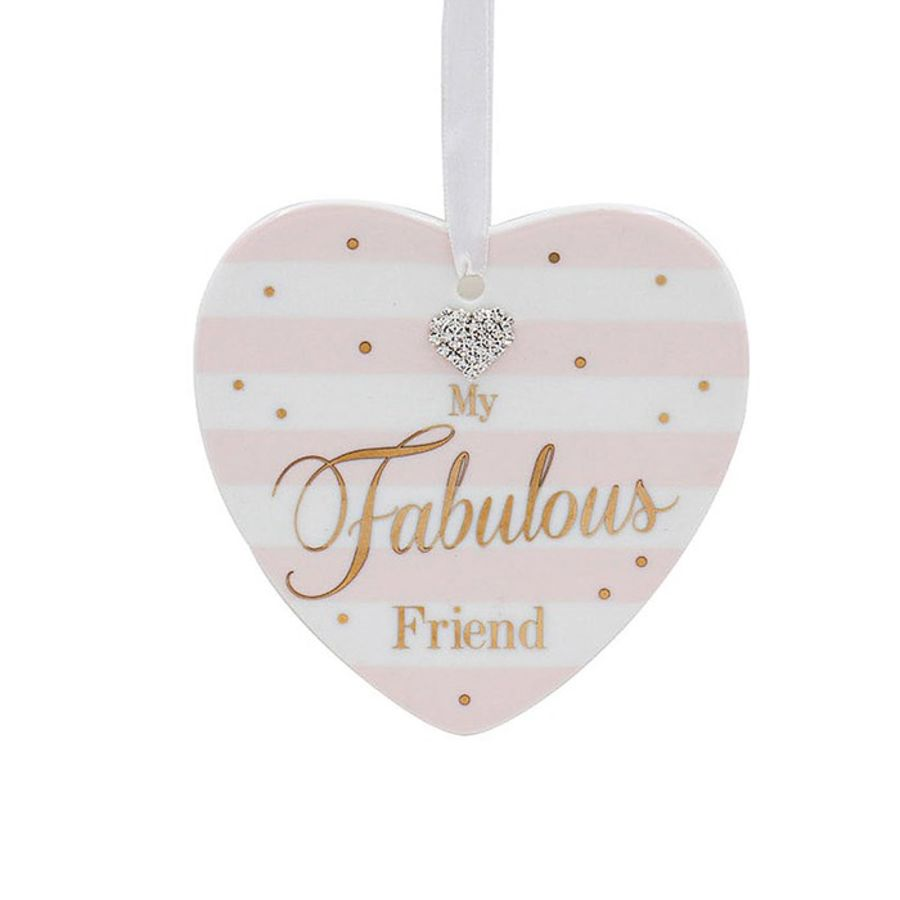 My Fabulous Friend Mad Dots Heart Plaque