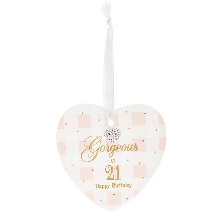 21st Birthday Mad Dots Heart Plaque
