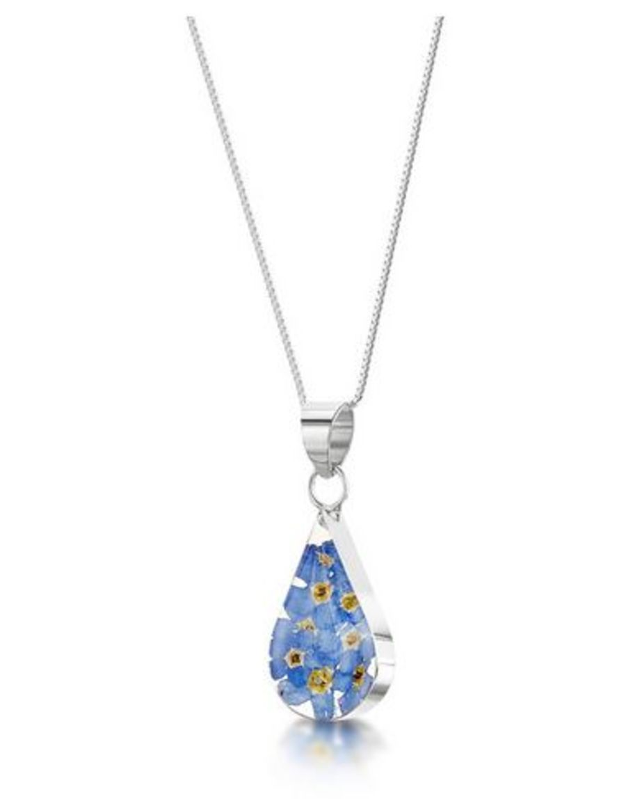 Silver Teardrop Forget-Me-Not Pendant by Shrieking Violet