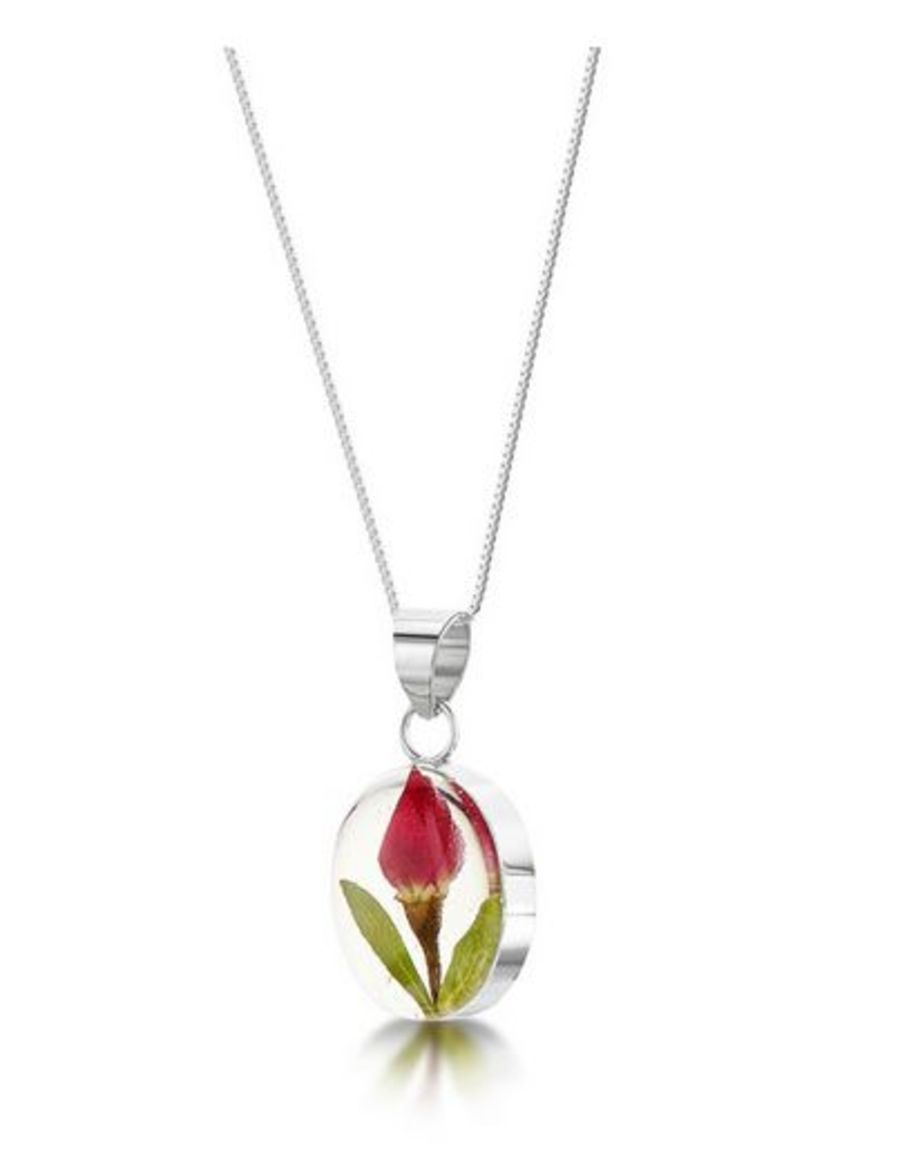 Silver Oval Rose Bud Pendant by Shrieking Violet