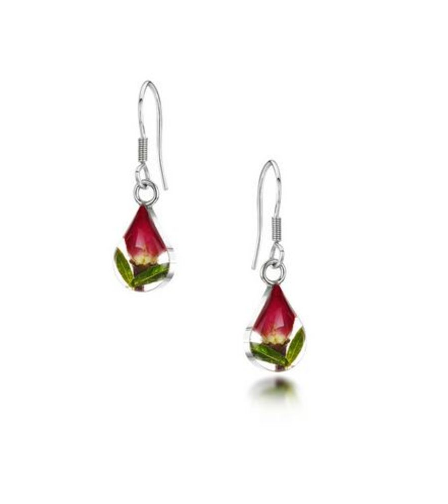 Silver Small Rose Bud Teardrop Earrings by Shrieking Violet