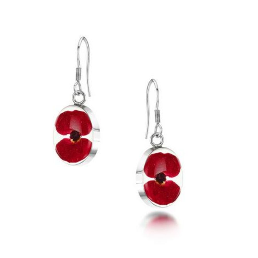 Silver Oval Poppy Drop Earrings by Shrieking Violet