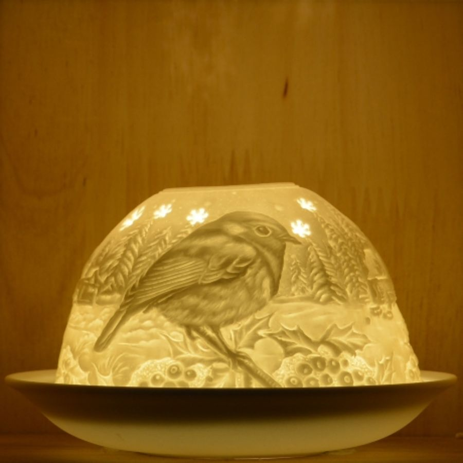 Nordic Lights Candle Shade - Stencil Robin