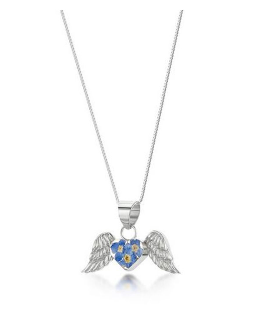 Silver Angel Wings Forget-Me-Not Pendant by Shrieking Violet