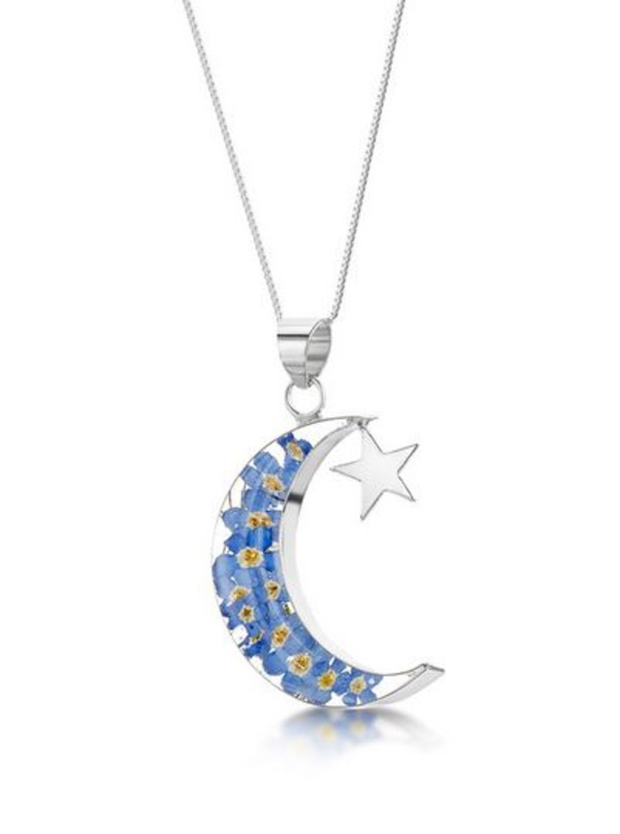 Silver Forget-Me-Not Moon & Star Pendant by Shrieking Violet