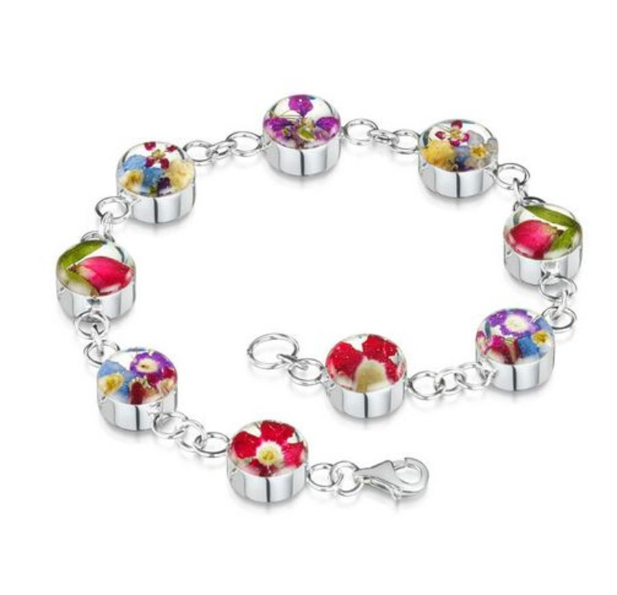 Silver Small Round Mixed Flowers Bracelet by Shrieking Violet