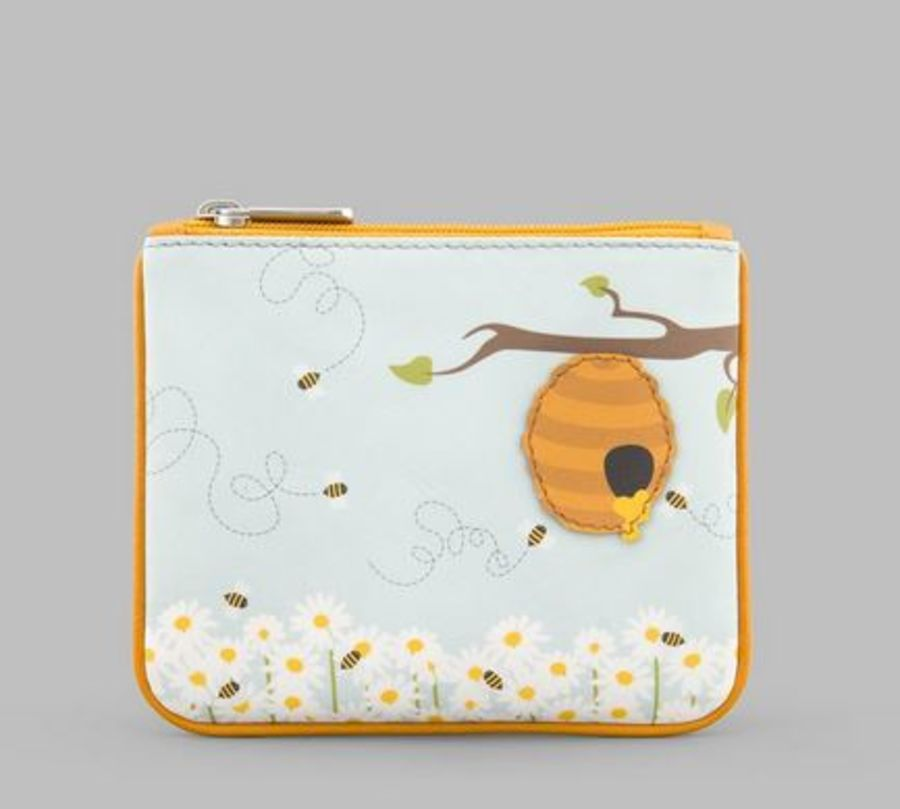 Honey Bee Zip Top Leather Purse Y by YOSHI