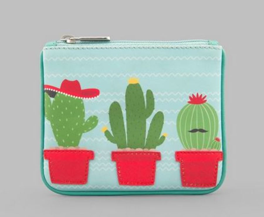 Cactus Zip Top Leather Purse Y by YOSHI
