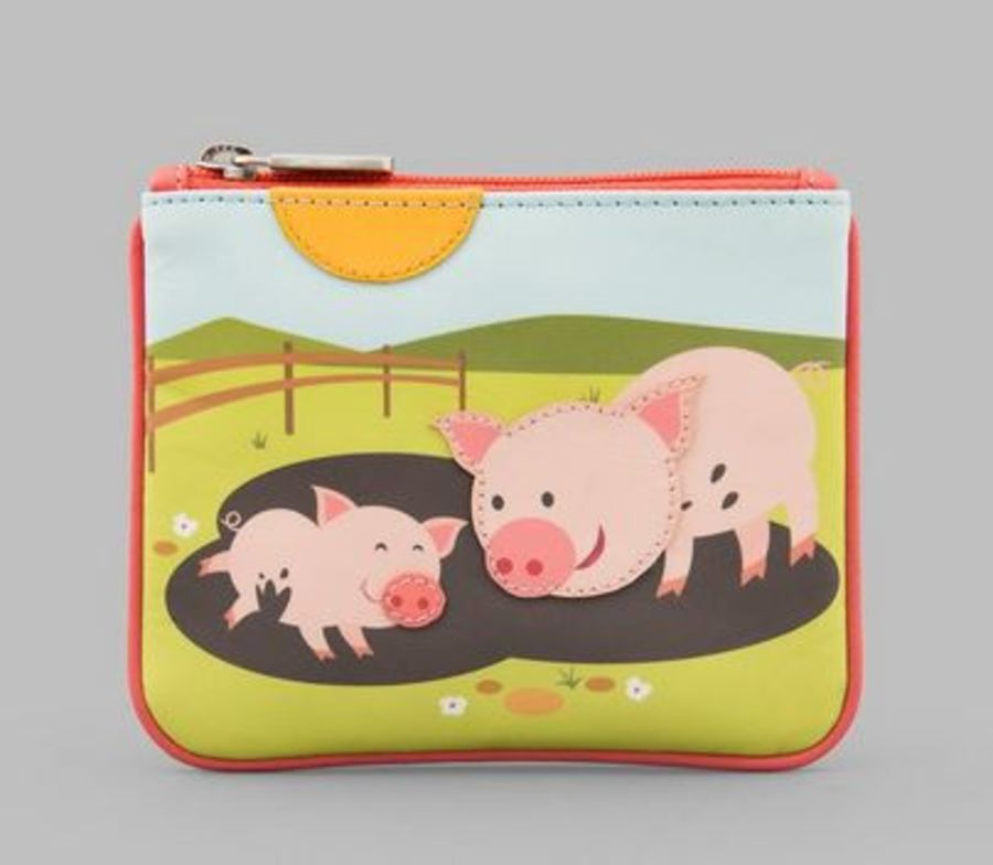 Pigs In Mud Zip Top Leather Purse Y by YOSHI