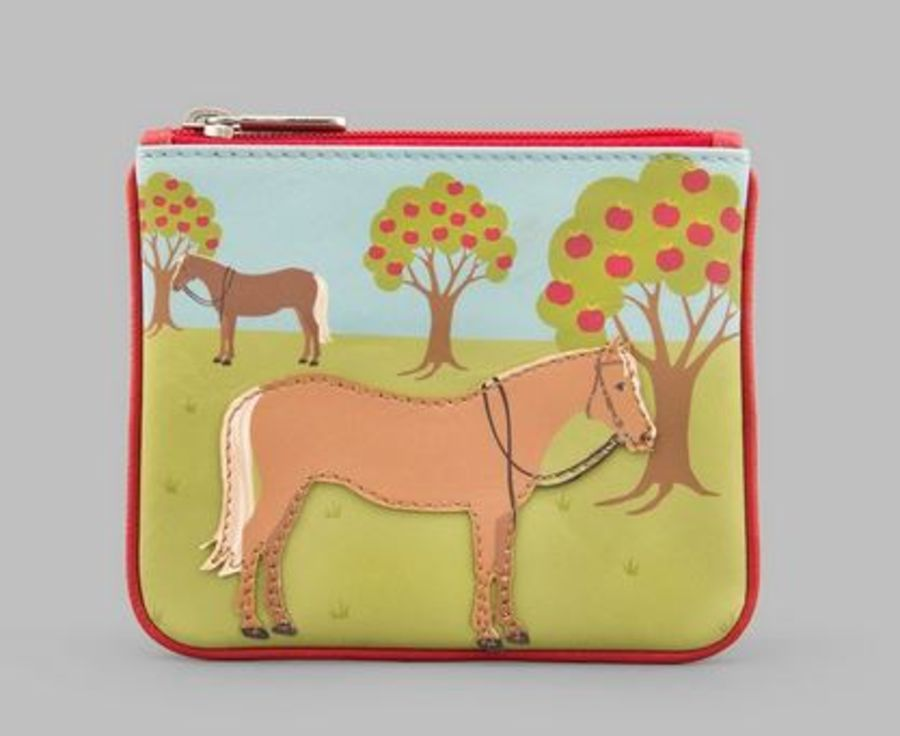 Horse Zip Top Leather Purse Y by YOSHI