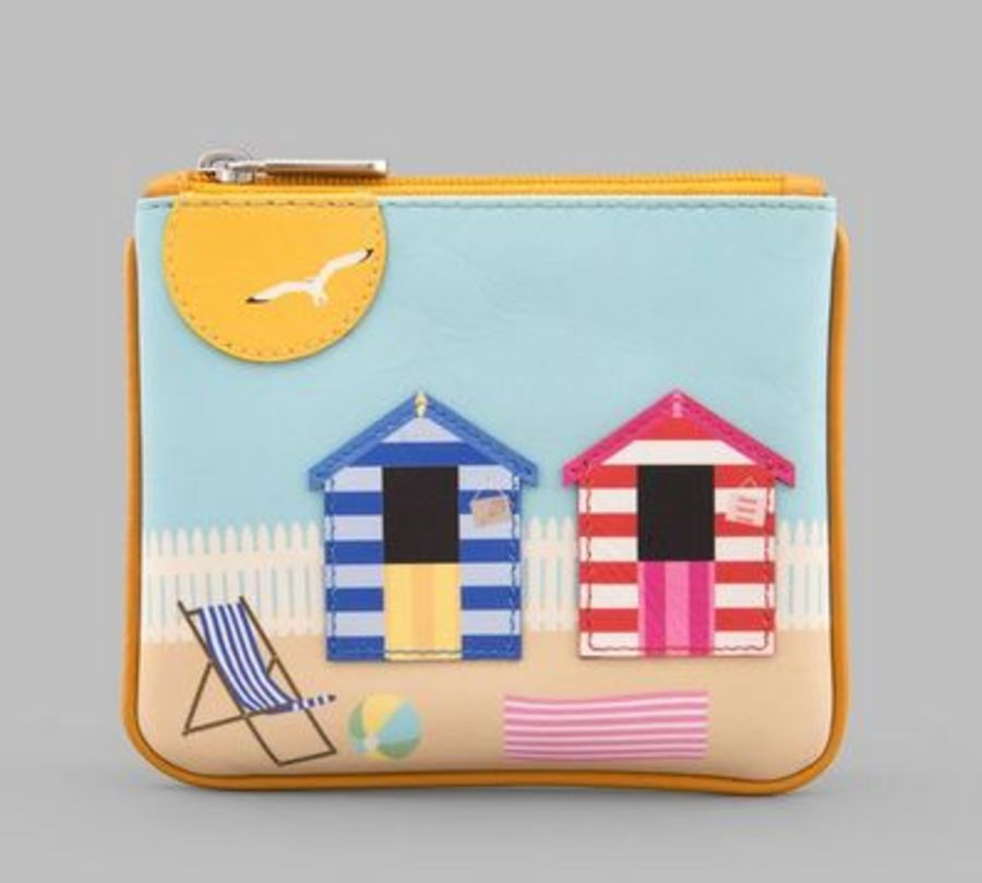 Beach Scene Zip Top Leather Purse Y by YOSHI
