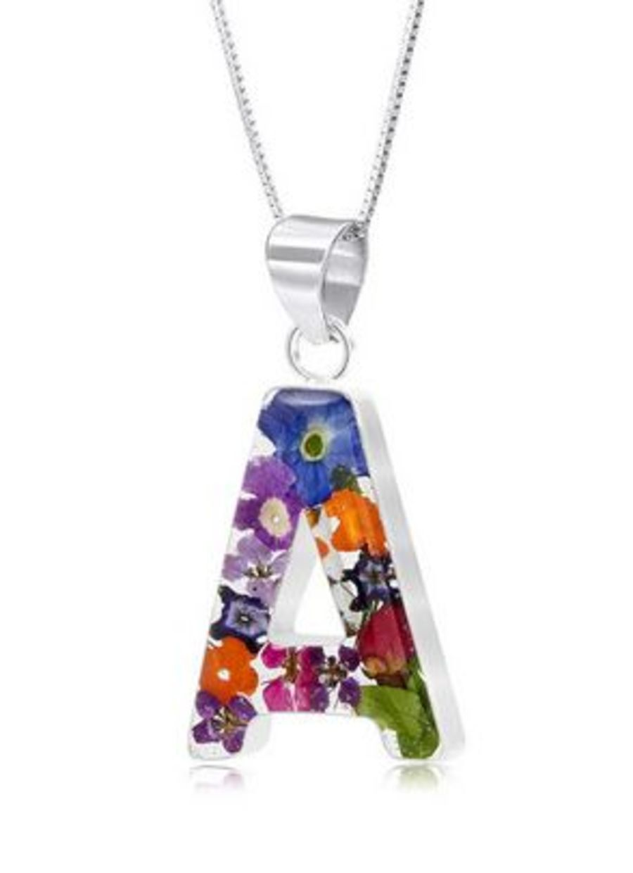 Silver Mixed Flowers A-Z Initial Pendant by Shrieking Violet