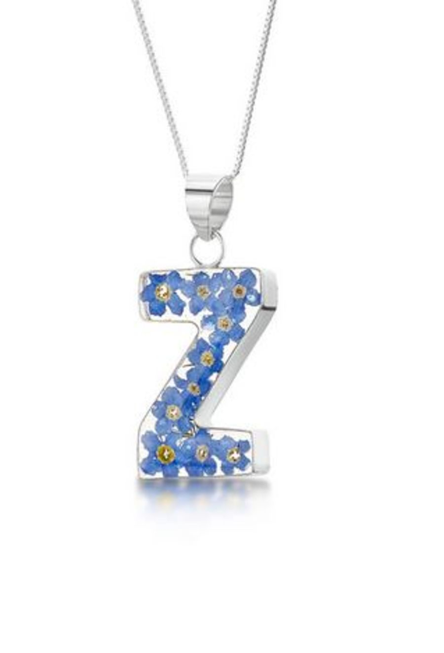 Silver Forget-Me-Not A-Z Initial Pendant by Shrieking Violet