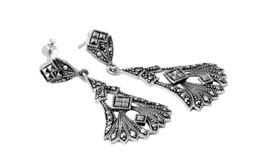 London Vintage Silver & Marcasite Fan Design Drop Earrings