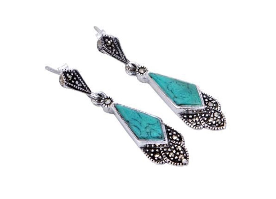 London Vintage Silver & Marcasite Deco Style Drop Earrings
