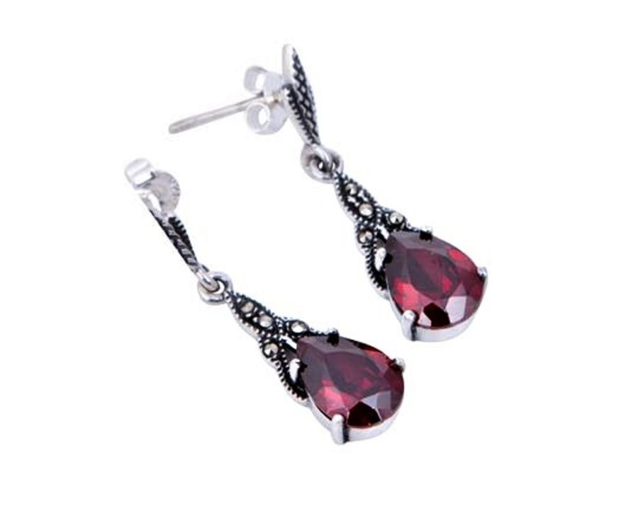 London Vintage Silver & Marcasite Drop Earrings - 4 Colours Available