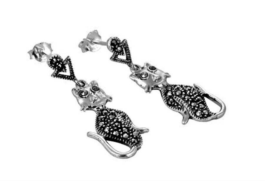 London Vintage Silver & Marcasite Cat design Drop Earrings