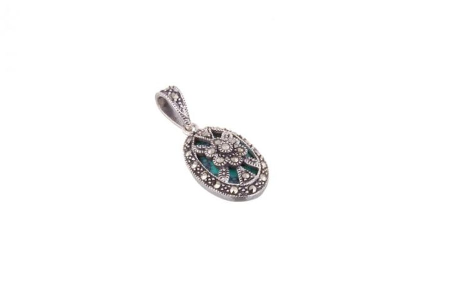London Vintage Silver & Marcasite set Oval Pendant & Chain