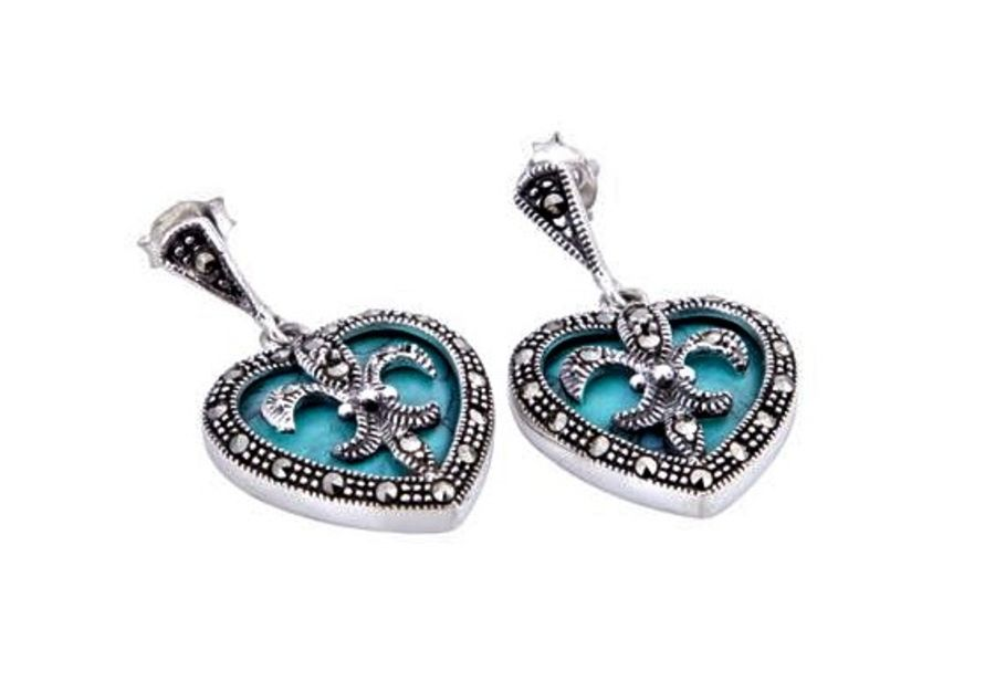 London Vintage Silver & Marcasite with faux turquoise Drop Earrings