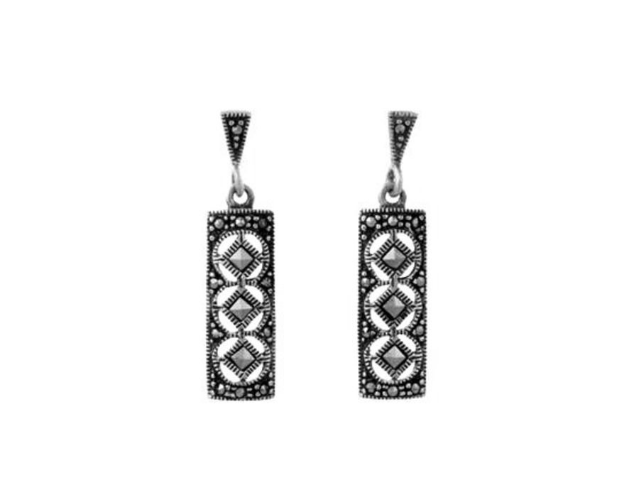 Silver & Marcasite Deco Style Oblong Drop Earrings by London Vintage