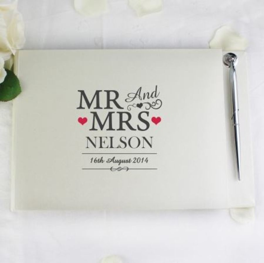 Personalised Mr & Mrs Guest Book and Pen