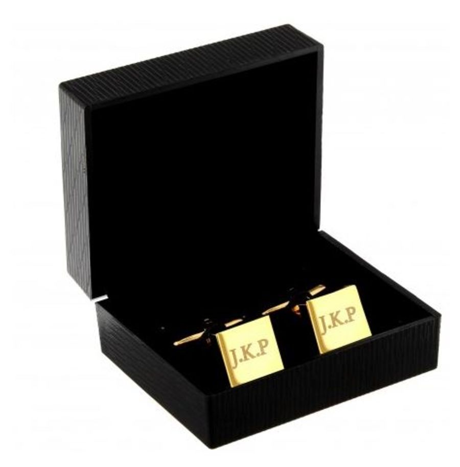 Engraved Gold Plated Square Cufflinks