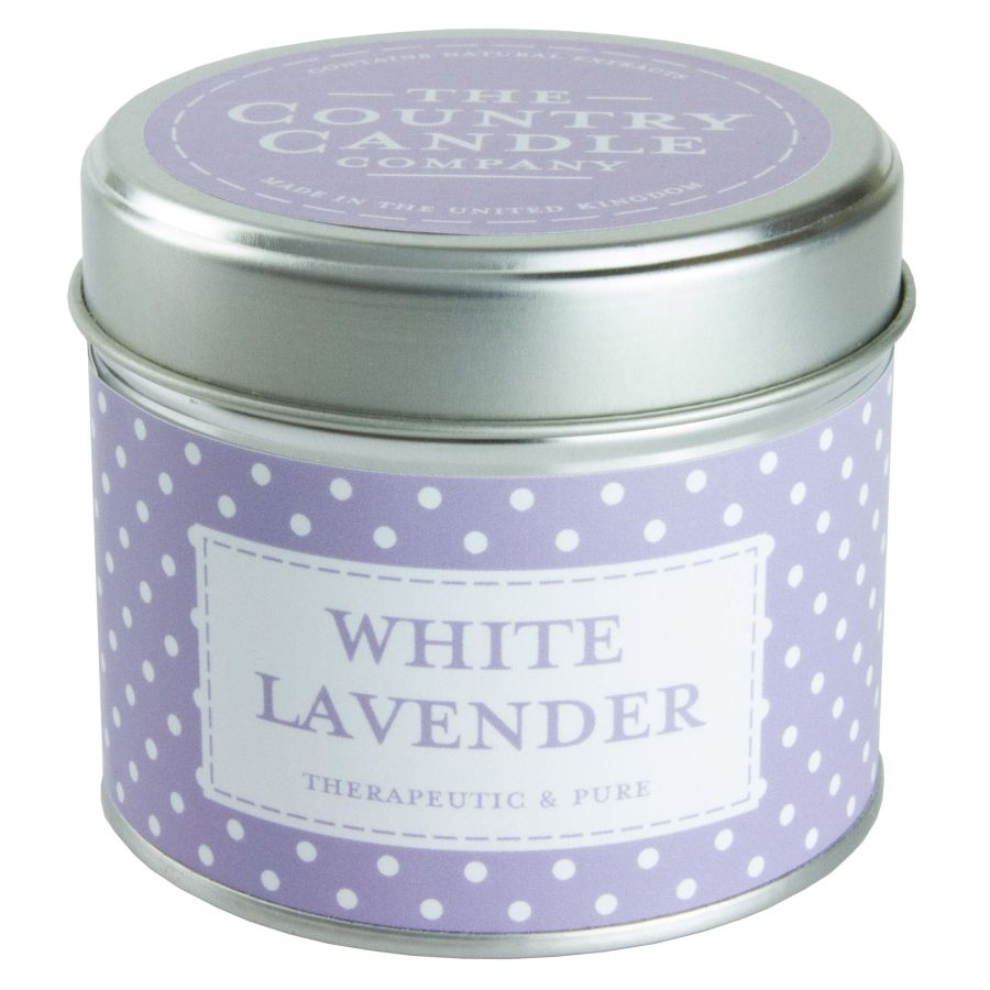 White Lavender Candle in a Tin