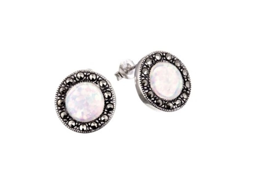 Silver Marcasite & Opal Round Stud Earrings by London Vintage