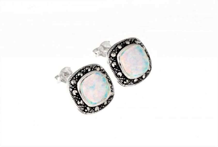 Silver & Marcasite Opal Stud Earrings by London Vintage