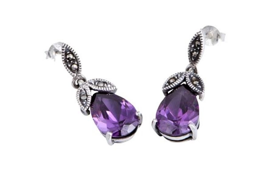 Silver Marcasite & Amethyst CZ Drop Earrings by London Vintage