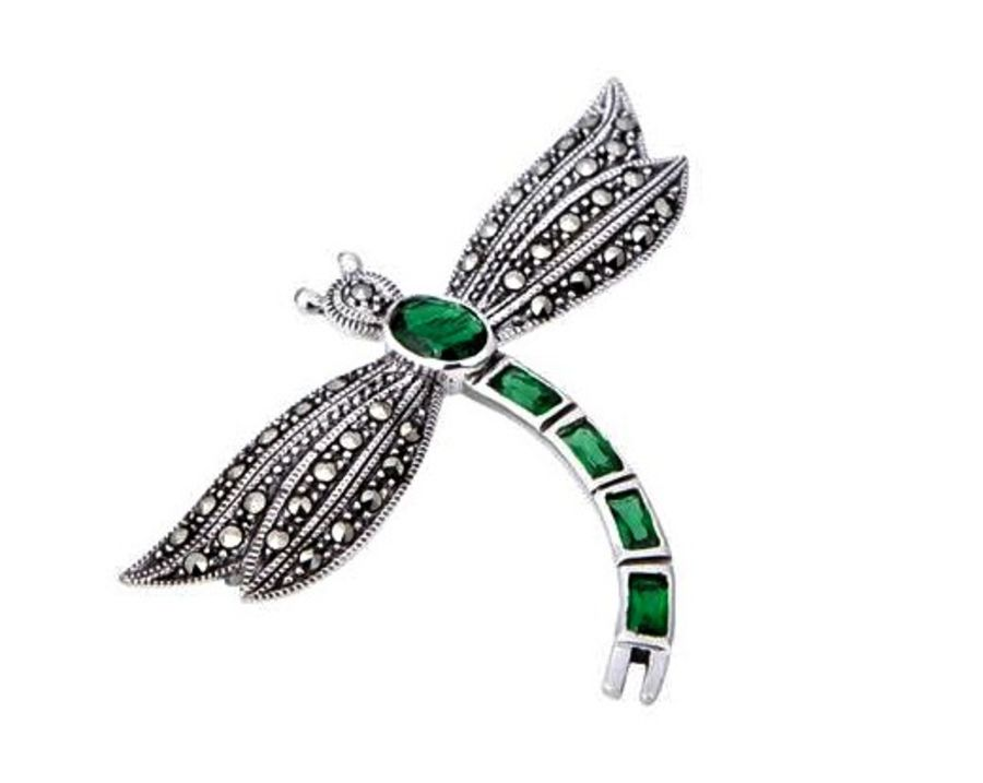 Silver & Marcasite Dragonfly Brooch by London Vintage - 4 Colours Available