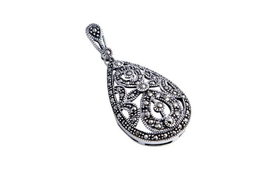 Silver Teardrop Style Marcasite Pendant & Chain by London Vintage
