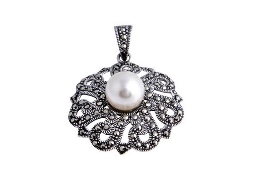 Silver Marcasite & Pearl Round Pendant & Chain by London Vintage