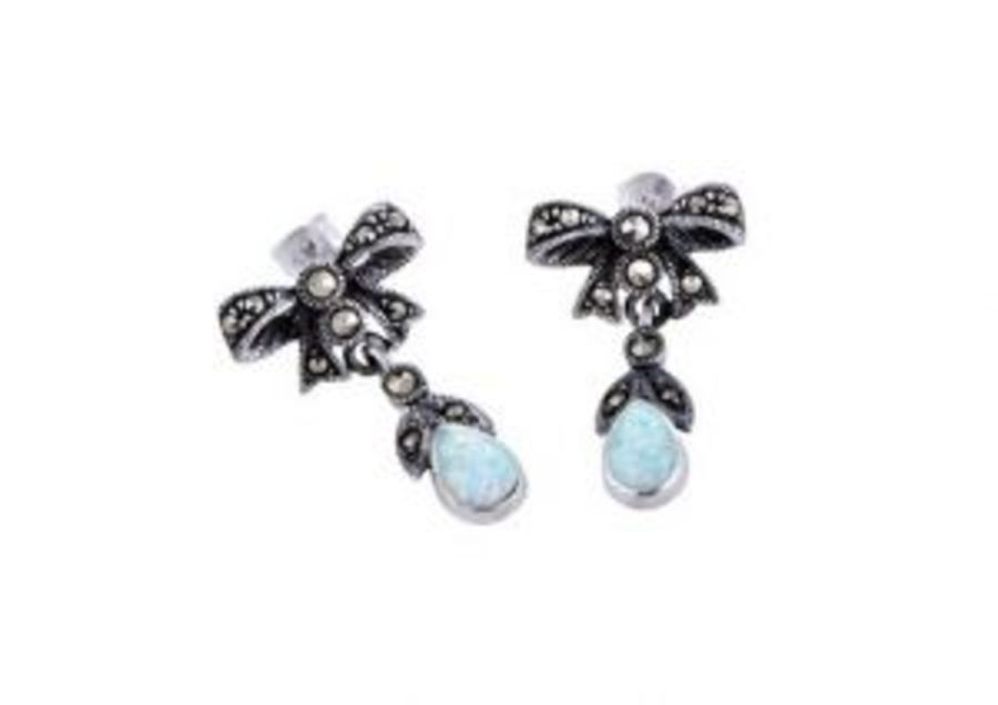 Silver Bow design Marcasite & Opal Earrings by London Vintage
