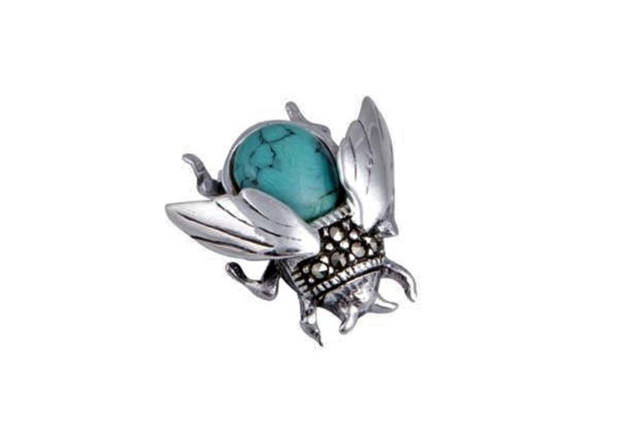 Silver Marcasite & Turquoise Bee Brooch by London Vintage