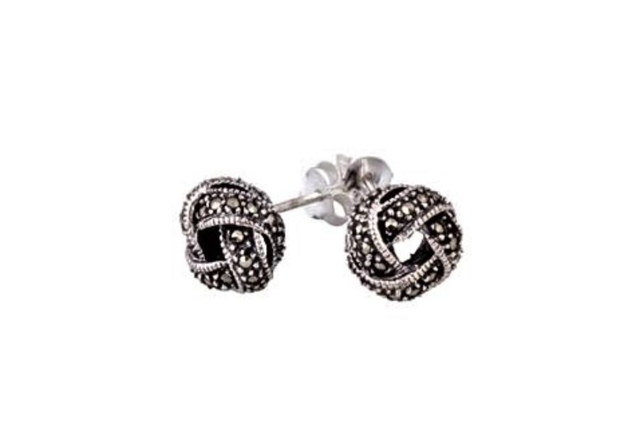 Silver & Marcasite Knot Earrings by London Vintage