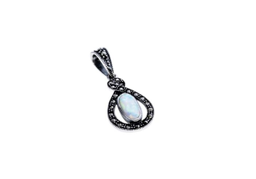 Silver Marcasite & Opal Twist Pendant & Chain by London Vintage