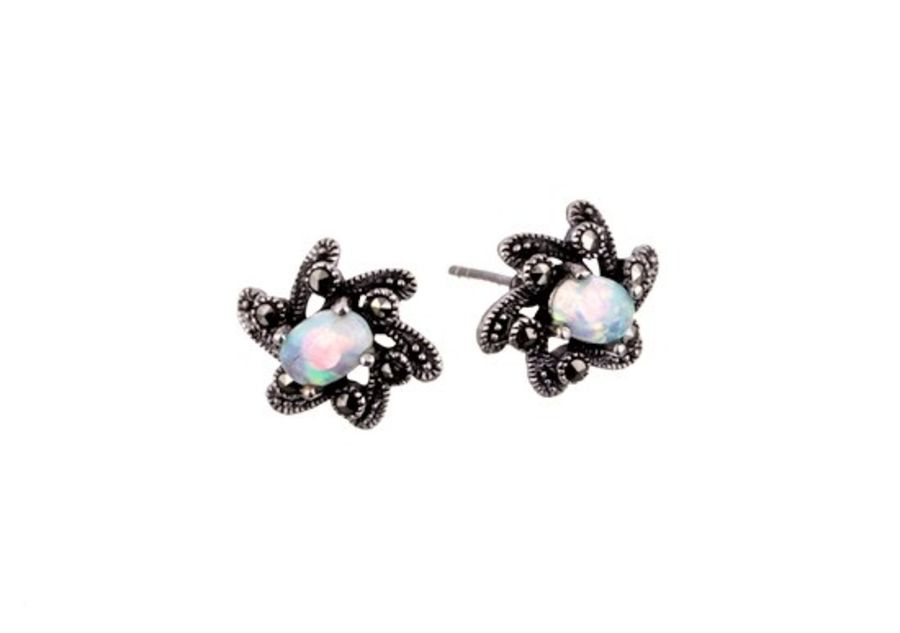 Silver Marcasite & Opal Floral Design Earrings by London Vintage