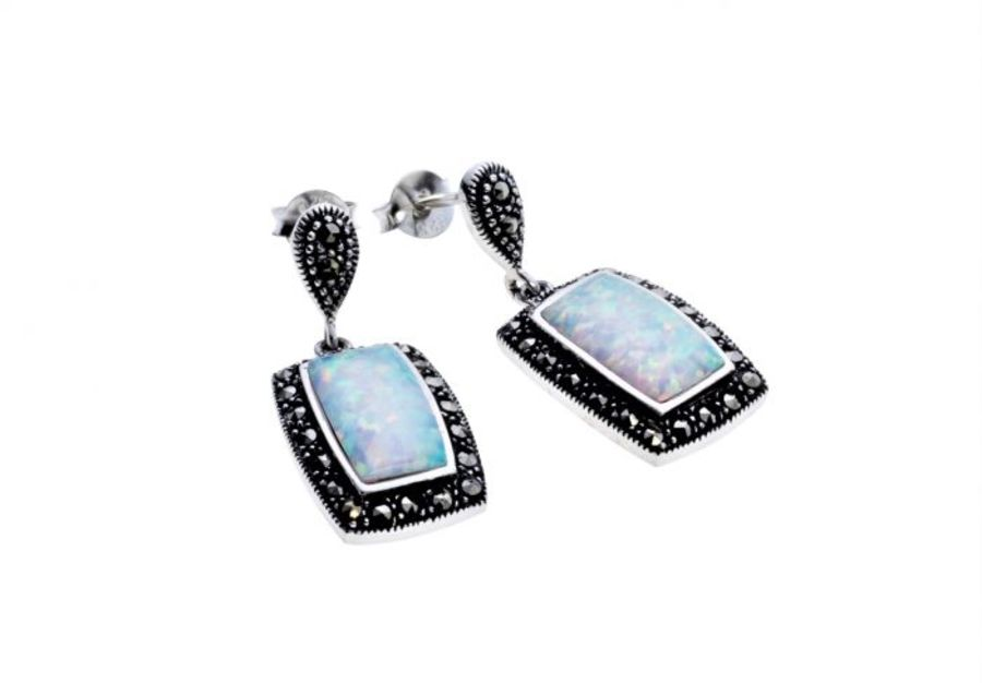 Silver & Opal Barrel Shape drop Earrings by London Vintage