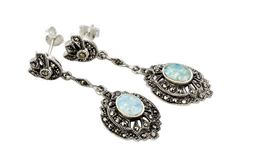 Silver Marcasite & Opal long drop Earrings by London Vintage