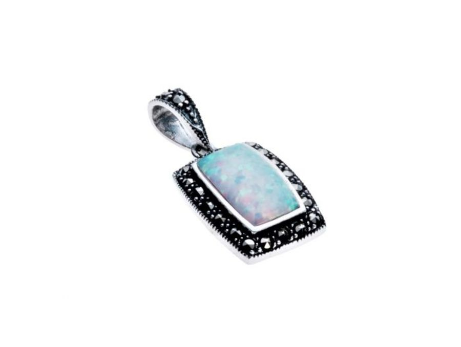 Silver Marcasite & Faux Opal Barrel Shaped Pendant by London Vintage