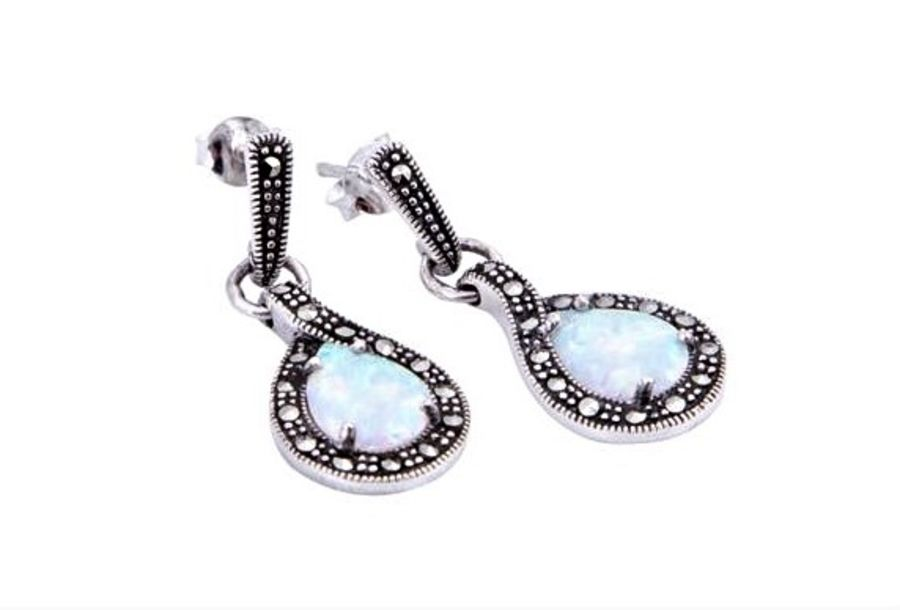 Silver Marcasite & Opal teardrop shaped Drop Earrings by London Vintage