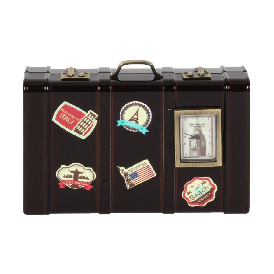 Miniature Luggage Case with Stickers Quartz Clock